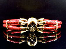 """Yellow Gold Finish Simulated Lab Diamond Red Leather Skull Band Bracelet In 8"""""""