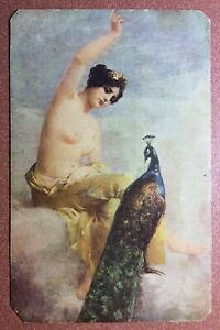 Antique SALON postcard 1910s Lovely nude Goddess YUNONA. Peacock complains
