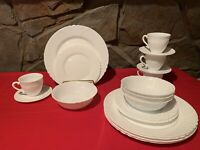 Arcopal Trianon White French Swirl 22 Pc: Four 5 pc Place Settings + 2 Dinner