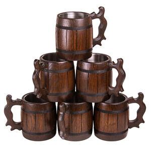Set 6 Handmade Wooden German Beer Mug Barrel Juice Cup Travel Oak Tinted 0.65L