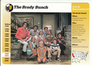 THE BRADY BUNCH Cast Photo 1970s TV Show 1996 GROLIER STORY OF AMERICA CARD