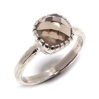 Smokey Topaz Natural Gemstone Handmade 925 Sterling Silver Ring Size 7.5 SR-33