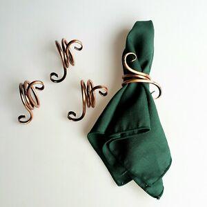 Gregorian Copper napkin rings set of 4 classic scroll design original box 1980s