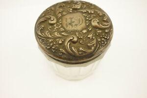 Antique Sterling Silver Repousse Lid Vanity Dresser Powder Glass Jar