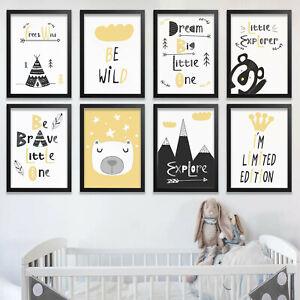 Nursery Prints Art Decor Wall Children Bedroom Kids Boys Girls Scandi Animals