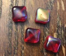 Vintage Red Semi Ab Kite Angled Square Fancy Glass Bead Lot