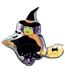"""35"""" Flying Witch Mylar Foil Balloon Super Shape Halloween Party Supplies"""