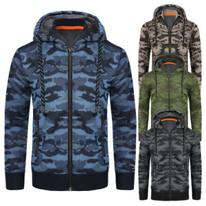 Mens Camo Fleece Fur Lined Hoodie Jacket  Zip Up Sherpa Warm  Winter Coat