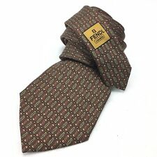 FENDI Silk Necktie Brown Gold Copper FF All Over Logo Print Designer Mens
