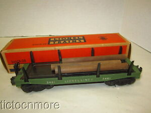 VINTAGE LIONEL LINES AUTOMATIC LUMBER CAR No 3461X-25  GREEN TRAIN CAR & BOX