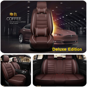Luxury PU Leather Coffee Car Seat Cover Front&Rear Set Car Interior Accessories