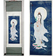 """Home decor Chinese silk scroll painting Guanyin BodhisattvaInk painting """"观音菩萨画像"""""""