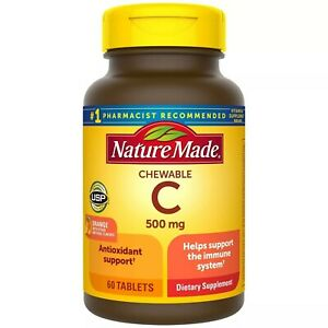 Nature Made Vitamin C 500 mg Chewable Tablet - Orange - 60 Tablets, USA Import