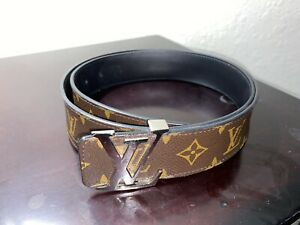 AUTHENTIC LOUIS VUITTON Men's Initials Reverse Monogram/Black Leather 95/38