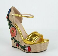 Gucci Gold Metallic Leather Embroidered Platform Wedge 37.5/US 7.5 454303 8016