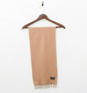 """Men's 100% Pure New Wool Scarf 50""""x11"""" Beige With Fringes Winter Tan Brown"""