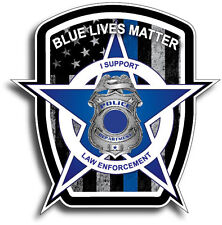 Blue Lives Matter American Flag Police Car Truck Decal Sticker Thin Line