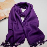 New Women's Purple 100% Cashmere Solid Winter Warm Long Scarf Shawl Wrap
