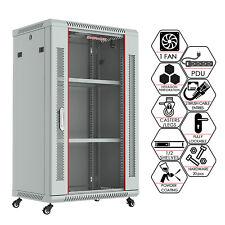 18U Wall Mount Network Server AV Cabinet Enclosure - PDU - FAN - Shelf - Wheels
