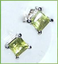 Emerald cut PERIDOT, 4mm 925 Sterling SILVER Stud Earring Earrings NEW Jewellery