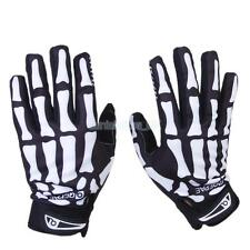 CYCLING BIKER MOTORCYLE SKULL BONE SKELETON GOTH RACING FULL FINGER GLOVES XL