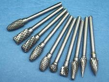 "10 PCS Burrs Set of 6MM Head 1/4"" Tungsten Carbide Rotary Burr 3MM 1/8"" Shank"