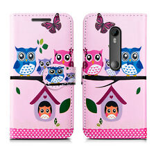 Leather Wallet Protect Book Magnet Stand Phone Case Cover for LUMIA 435 535 735 Nokia 3 Owl Family - Many Owls Group Lots Bird Wildlife