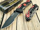 TAC FORCE Spring Assisted Opening RED FIRE FIGHTER Tactical RESCUE Pocket Knife