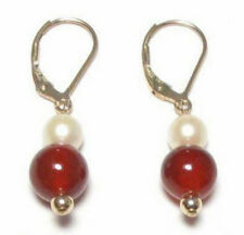 Pretty Red Agate Genuine Real White Pearl Yellow Gold Plated Hook Earrings JE221