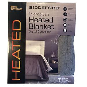Biddeford Microplush Digital Controller Heated Blanket Twin Size Gray