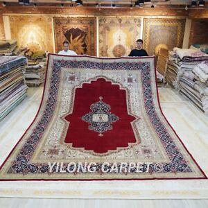 10x14ft Handmade Silk Carpet Red Oriental Luxury Living Room Durable Rug TJ154A