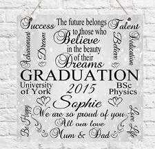 Personalised Graduation Typography Plaque University Degree School Gift Present
