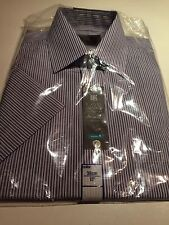 """BNIP New Marks Spencer M&S Collection Purple Striped Shirt 15"""" Short Sleeve"""