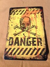 "Danger Skulls Yellow Warning Sign Vintage Garage Bar Wall LARGE 18"" X 12"""