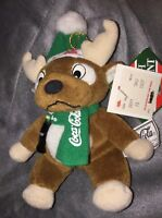 Coca-Cola Plush Reindeer hanging Christmas ornament 1998 With Coke Bottle Rare
