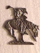 "(#M363) Large END OF THE TRAIL Pewter Vest / Hat Pin 2"" x 2-1/8"" Indian"