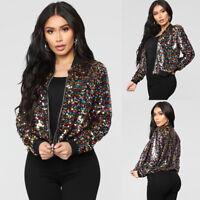 Women Sequin Long Sleeve OL Blazer Suit Casual Jacket Coat Tops Outwear Cardigan