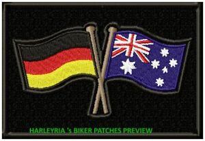 AUSTRALIA GERMAN CROSSED FLAGS BORDERED BIKER PATCH 110 X 85MM