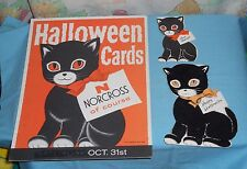 "vintage NORCROSS HALLOWEEN ADVERTISING SIGN & GREETING CARDS black cat ""Inky"""