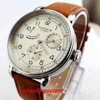 Hot 42mm PARNIS Beige dial Classic Power Reserve Indicator automatic mens watch