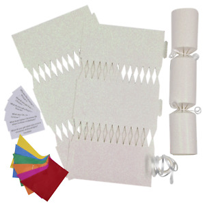12 Make Your Own Christmas Cracker kit Crackers Hats Snaps WHITE GLITTER