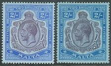 Malta 1914 purp/bri-blue 2/- dull-purp/grey-bl 2/-  multi-crown CA mint SG86/86g