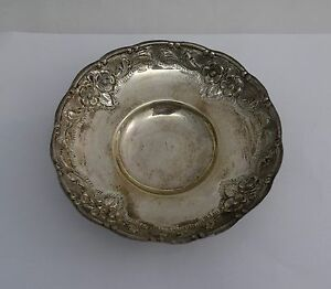 Antique Sterling Silver Fancy Floral Footed Bowl 3.6 ozt