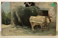 Cailhau Peinture Ferme Bœuf Agriculture Ancien French Painting Art Populaire