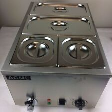 Professional ACME 4 Pot Wet Heat Bain Marie 2x1/3+2x1/6 Pans & Lids Included
