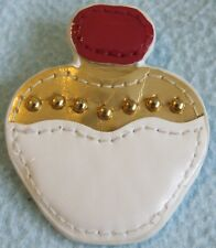 Cute Quirky Faux Leather PERFUME Bottle BROOCH