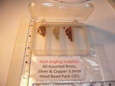 60 assortiti 3.5mm OTTONE, Argento e Perline Testa di rame (in scatola) per Fly Tying (1f)