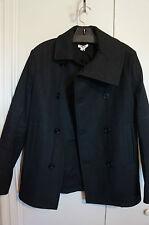 New Men Helmut Lang Black Peacoat Jacket Coat SZ S $1075 Barneys New York Saks