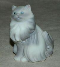 Vintage 1984 Avon Persian Cat Figurine Porcelain White & Gray Blue Eyes Kitty