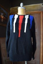 AXIOM Womens Round Neck Thick Knit Cable Sweater Black Multi-Color Size Medium